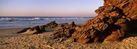Rock formations on the beach, Carrapateira Beach, Algarve, Portugal Fine Art Print