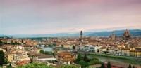Buildings in a city, Ponte Vecchio, Arno River, Duomo Santa Maria Del Fiore, Florence, Italy Framed Print