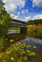 Covered bridge across a river, Vermont, USA Fine Art Print
