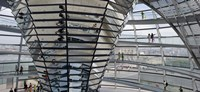 Mirrored cone at the center of the dome, Reichstag Dome, The Reichstag, Berlin, Germany Fine Art Print