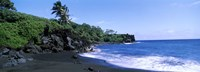 Tide on the beach, Black Sand Beach, Hana Highway, Waianapanapa State Park, Maui, Hawaii, USA Fine Art Print