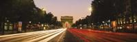 Traffic on the road, Avenue des Champs-Elysees, Arc De Triomphe, Paris, Ile-de-France, France Fine Art Print