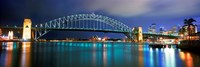 Sydney Harbour Bridge with the Sydney Opera House in the background, Sydney Harbor, Sydney, New South Wales, Australia Framed Print