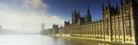 Government building at the waterfront, Houses Of Parliament, Thames River, London, England Fine Art Print