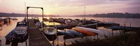 Boats in a lake at sunset, Lake Champlain, Vermont, USA Fine Art Print