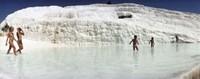 Children enjoying in the hot springs and travertine pool, Pamukkale, Denizli Province, Turkey Fine Art Print