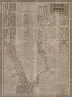 Blueprint Map New York Taupe Fine Art Print