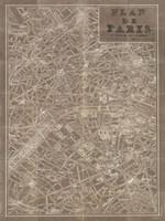 Blueprint Map Paris Taupe Fine Art Print