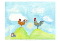 Hilltop Roosters Fine Art Print