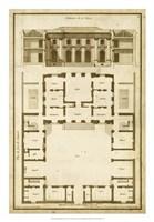 Vintage Building & Plan I Fine Art Print