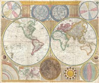 1794 Samuel Dunn Wall Map of the World in Hemispheres Fine Art Print