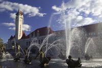 Fountains in front of a railroad station, Milles Fountain, Union Station, St. Louis, Missouri, USA Fine Art Print