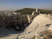 High angle view of an amphitheater, Odeon of Herodes Atticus, Acropolis, Athens, Attica, Greece Fine Art Print