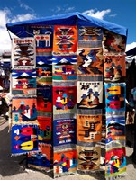 Pillow covers for sale at a handicraft market, Otavalo, Imbabura Province, Ecuador Fine Art Print