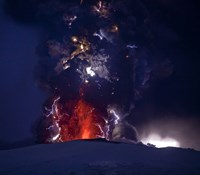 Close Up of an Erupting Volcano, Eyjafjallajokull, Iceland Fine Art Print