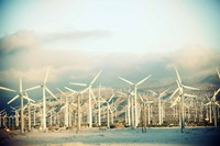 Wind turbines with mountains in the background, Palm Springs, Riverside County, California, USA Fine Art Print