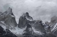 Clouds over snowcapped mountains, Torres del Paine National Park, Magallanes Region, Patagonia, Chile Fine Art Print