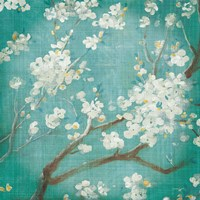 White Cherry Blossoms I on Blue Aged No Bird Fine Art Print