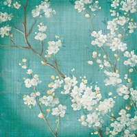 White Cherry Blossoms II on Blue Aged No Bird Fine Art Print