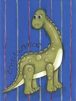 Green Dino Framed Print