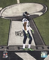 Richard Sherman Super Bowl XLVIII Action Framed Print
