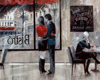 Bistro Romance Framed Print