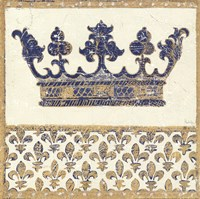 Regal Crown Indigo and Cream Fine Art Print