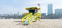 Lifeguard Station on the beach, Santa Monica Beach, Santa Monica, California, USA Framed Print