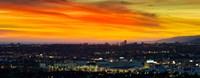Cityscape at dusk, Sony Studios, Culver City, Santa Monica, Los Angeles County, California, USA Fine Art Print