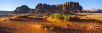 Rock formations in a desert, Jebel Qatar, Wadi Rum, Jordan Fine Art Print