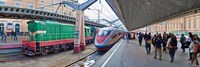 Bullet train at a railroad station, St. Petersburg, Russia Fine Art Print
