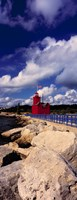 Lighthouse at the coast, Big Red Lighthouse, Holland, Michigan, USA Fine Art Print