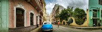Car in a street with a government building in the background, El Capitolio, Havana, Cuba Fine Art Print