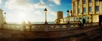 Lacerda Elevator on the coast at sunset, Pelourinho, Salvador, Bahia, Brazil Fine Art Print