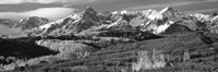 Mountains covered with snow and fall colors, near Telluride, Colorado (black and white) Fine Art Print