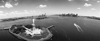 Aerial View of the Statue of Liberty, New York City (black & white) Fine Art Print