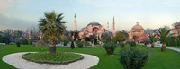 Formal garden in front of a church, Aya Sofya, Istanbul, Turkey Fine Art Print