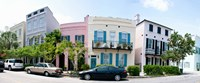 Rainbow row colorful houses along a street, East Bay Street, Charleston, South Carolina, USA Fine Art Print