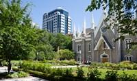 Assembly hall in a city, Salt Lake Assembly Hall, Temple Square, Salt Lake City, Utah, USA Fine Art Print