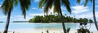 Palm trees on the beach, Rangiroa Atoll, French Polynesia Fine Art Print