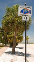 Mile marker zero at Pass-A-Grille, St. Pete Beach, Tampa Bay Area, Tampa Bay, Florida, USA Fine Art Print