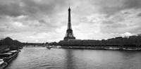 Eiffel Tower from Pont De Bir-Hakeim, Paris, France (black and white) Fine Art Print