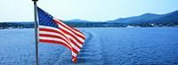 Flag and view from the Minne Ha Ha Steamboat, Lake George, New York State, USA Framed Print