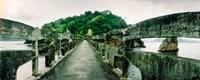 Stone bridge leading to a small island, Niteroi, Rio de Janeiro, Brazil Fine Art Print