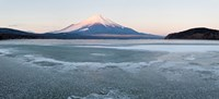 Yamanaka Lake covered with ice and Mt Fuji in the background, Yamanakako, Yamanashi Prefecture, Japan Fine Art Print