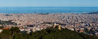 Aerial View of Barcelona and Mediterranean, Spain Fine Art Print