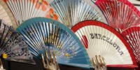 Fans for sale in souvenir shop, Barcelona, Catalonia, Spain Fine Art Print