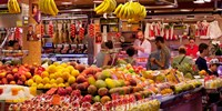 Fruits at market stalls, La Boqueria Market, Ciutat Vella, Barcelona, Catalonia, Spain Fine Art Print