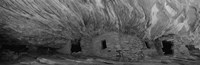 Dwelling structures on a cliff in black and white, Anasazi Ruins, Mule Canyon, Utah, USA Fine Art Print