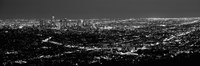 Black and White View of Los Angeles at Night from a Distance Framed Print